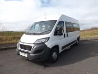 Peugeot Boxer Euro 6 CanDrive Flexi 17 Seat School Minibus in White with Reverse Parking Sensors