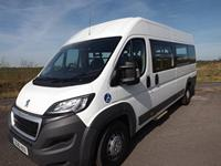White Peugeot Boxer L4 CanDrive Maxi 17 Seat Minibus to Purchase or Lease with a Manual Side Step