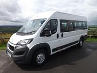 Peugeot Boxer 17 Seat CanDrive Maxi Minibus For Sale in White with 4 Removable Seats and Reverse Parking Sensors
