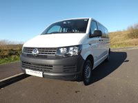 VW Transporter 9 Seater Euro 6 ULEZ Compliant M1 Wheelchair Accessible Minibus in White For Sale with 6 Seats on Tracking and Options For Half Bulkhead System and Onboard Wheelchair Lift