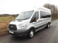 Ford Transit 155PS 17 Seat Trend Euro 6 ULEZ Minibus with Air Con Parking Sensors and Towbar in Metallic Silver