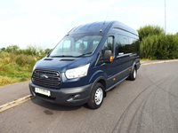 Ford Transit 155PS 17 Seat Trend Euro 6 ULEZ PSV Spec Minibus with Air Con and Parking Sensors in Blazer Blue Very Low Mileage