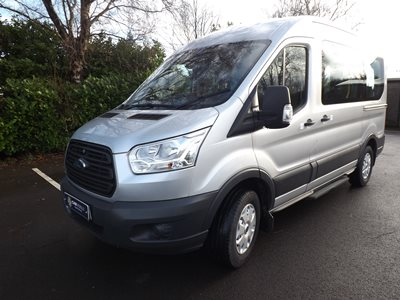 Ford Transit Euro 6 ULEZ Compliant 9 Seater Wheelchair Accessible Minibus in Silver For Sale with Ricon Split Platform Lift