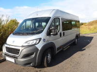 Full Service History Peugeot Boxer Euro 6 L4H2 17 Seat ULEZ Compliant Wheelchair Accessible Minibus in Silver with Fold Out Ramp
