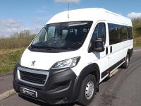 Very Low Mileage Peugeot Boxer Euro 6 PSV ULEZ Compliant 17 Seat Lightweight Minibus with Air Conditioning and Tachograph